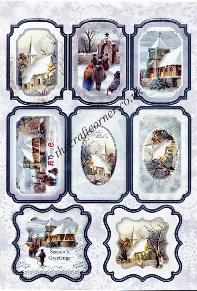 Die Cut Foil Traditional Christmas Village Scene Toppers